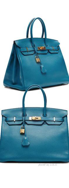 Hermes 35Cm Blue Izmir Clemence Birkin