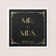Gold Foil Great Gatsby Art Deco Wedding Napkins