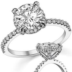 I want this one... Round Moissanite Petite Pave Style Engagement Ring
