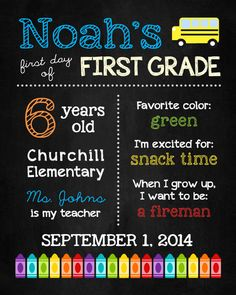 FIRST DAY of School Chalkboard Sign by ChalkolateCake on Etsy