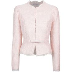 VALENTINO boucle jacket ($1,165) ❤ liked on Polyvore featuring outerwear, jackets, blazer, coats & jackets, valentino, cropped jackets, valentino jacket, cropped blazers, boucle blazer and long sleeve jacket