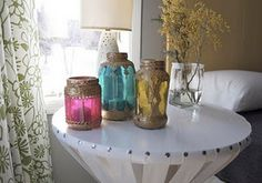 spaghetti sauce jars made into moraccan style candle holder