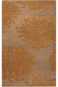 Awesome floor rug with abstractish gold flowers. Love it.