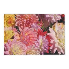 Profusion of Dahlia Flowers Laminated Placemat