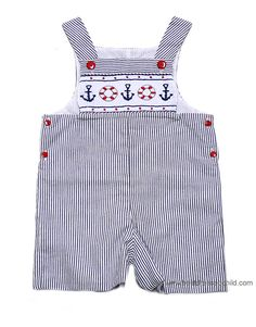 Little Threads Baby / Toddler Boys Blue Sunsuit with Smocked Nautical Anchors