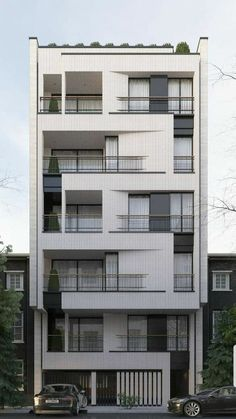 Condominium Architecture, Architecture Building Design, Building Facade, Building Exterior, Facade Design, Residential Architecture, Exterior Design, Modern Architecture, Small Buildings