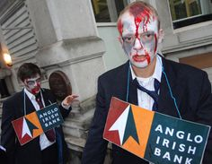 Campaigners dressed as 'zombie bankers' outside the Irish embassy in London to show their support for a newly formed Irish group Debt Justice Action.