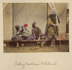 "Selling ""medicine"" to kill rats; Shinichi Suzuki (Japanese, 1835 - 1919); Japan; about 1873 - 1883; Hand-colored albumen silver print; 12.7 x 16.9 cm (5 x 6 5/8 in.); 84.XA.765.8.8; J. Paul Getty Museum, Los Angeles, California"