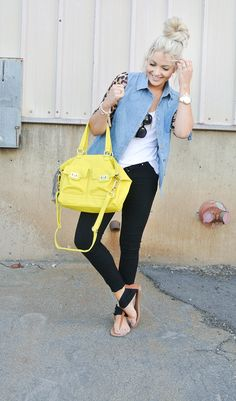 LOVETHIS! Dark jeans, denim vest, bright purse, leather sandals, and the CUTEST top knot!!!!