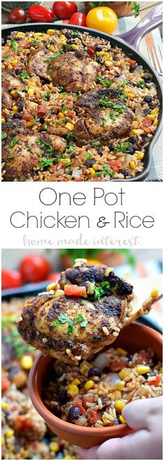 One Pot Mexican Chicken and Rice | This easy one pot Mexican chicken and rice recipe is filled with tex-mex flavor and cooked with rice, corn, and black beans to make a complete meal in one pot! This chicken recipe is perfect for an easy family dinner.