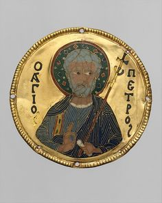 Medallion with Saint Peter from an Icon Frame - Date: ca. 1100 Geography: Made in Constantinople Culture: Byzantine Medium: Gold, silver, and enamel worked in cloisonné