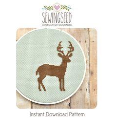 Deer Silhouette Cross Stitch Pattern Instant Download