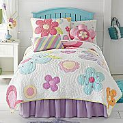 I think this is the quilt i'd love to get for the girls room. Love the simpleness but all the colors!