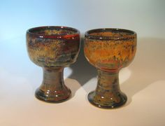 Pottery Wine Goblet Red and Navy Glaze by LaurenBauschOriginal, $39.00