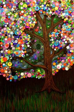 Button tree 0007 Painting  - Button tree 0007 Fine Art Print by Monica Furlow