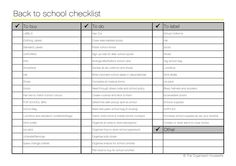 Back to school checklist | Shop – The Organised Housewife