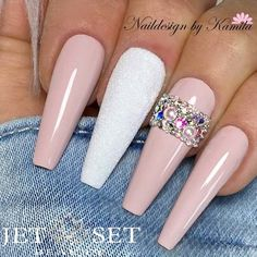 Lovely Nude Coffin Nails With Stones ❤ 40+ Magnificent Coffin Nails Designs You Must Try ❤ See more ideas on our blog!! #naildesignsjournal #nails #nailart #naildesigns #coffinnails #nailshapes #coffins #ballerinanails Fancy Nail Art, Fancy Nails, Cool Nail Art, Aycrlic Nails, Coffin Shape Nails, Manicure And Pedicure, Special Nails, Nail Tips, Nail Ideas