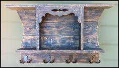 cottage shelf with coat/key hooks