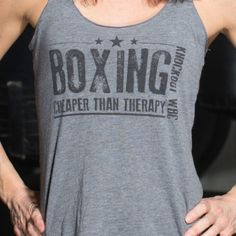 """""""Boxing is Therapy"""" Triblend Racerback Women's Boxing Tank"""