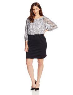 Gabby Skye Women's Plus-Size 3/4 Sleeve Swirl Print Blouson Dress, White/Black, 18 Gabby Skye http://www.amazon.com/dp/B00IL8XAHS/ref=cm_sw_r_pi_dp_.sznub1XATNX1