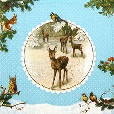 4 Single  Party Paper Napkins for Decoupage Decopatch Craft Wintertime Blue