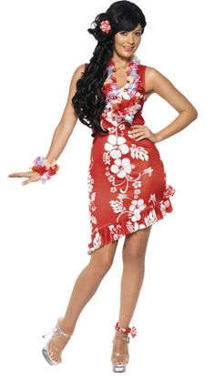 Hawaiian Beauty Costume Code: FCHAB-O Hawaiian Beauty Costume, Red and White, with Dress, Hairpiece and Anklet. Chill out at a Luau party in this great red patterned Hawaiian outfit. One size medium/ 12 £15.25