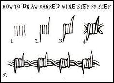 DARYL HOBSON ARTWORK: How To Draw Barbed Wire: Step By Step art art graffiti art graffiti definition art graffiti quotes art graffiti words art quotes wall art quotes Barbed Wire Drawing, Barbed Wire Tattoos, Barbed Wire Art, Art Drawings Sketches, Tattoo Sketches, Easy Drawings, Tattoo Design Drawings, Pencil Art Drawings, Doodle Drawings