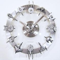 The star trek clock features starships from the respective series on 12 points of the clock #geek #love #clock