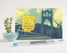 HEY FROM PORTLAND postcards - set of 3 postcards - St. Johns bridge, pdx, Oregon, Pacific Northwest, illustration, handtype, photography