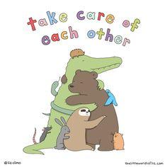 Cute Comics, Funny Comics, Liz Climo Comics, Spiritual Animal, Character Quotes, Scary Places, Calvin And Hobbes, Cute Creatures, Cute Cartoon