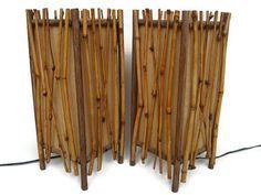 Vintage Tiki bamboo lamp set of 2 tropical lamps from the Bamboo Mirror, Bamboo Lamp, Tropical Lamps, Vintage Tiki, Team Gifts, Lamp Sets, Lamp Shades, Cottage Chic, Kitsch