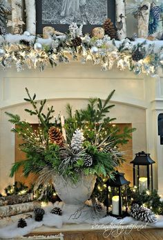 Woodland Winter Mantel. Lovely center piece!!~ Over the top but in my house I love over the top! Over the top is good!