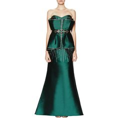 Badgley Mischka Couture Badgley Mischka Couture Women's Embellished... ($1,349) ❤ liked on Polyvore featuring dresses, gowns, green, green a line dress, badgley mischka dresses, badgley mischka gown, pleated dress and peplum evening gown