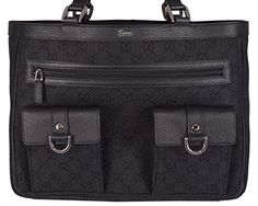 Gucci Women's Black Denim Abbey Pockets GG Guccissima Tote Handbag -- Want additional info? Click on the image.