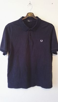 Fred Perry Mens Polo T Shirt Solid Navy Embroidered Logo Size XL
