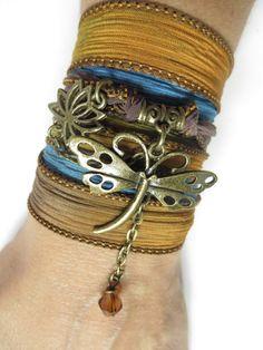 Dragonfly Silk Wrap Bracelet Dragonfly Jewelry Spiritual by HVart