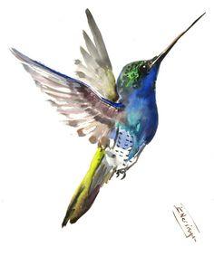 Flying Hummingbird, Original watercolor painting, green wall art, painting, bird, birding, bird lover git, blue green shades by ORIGINALONLY on Etsy