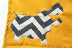 Chevron Stripe Hippo Baby Blanket Yellow by mylittlemookie on Etsy, $28.00