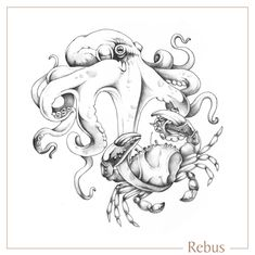 Hand drawn bespoke artwork of an Octopus and Crab, created for a signet ring engraving Ring Engraving, Engraved Rings, Signet Ring, Octopus, Bespoke, Hand Drawn, Artworks, How To Draw Hands, Fairy