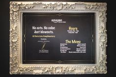 Salon signage was printed with the Amazon Prime Video logo, as well as the black-and-gold logo for the show. Elsewhere, staffers hung framed photos of the series' characters.
