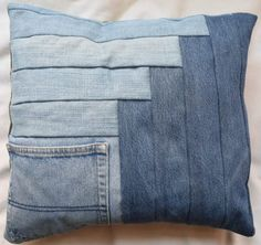 DIY Denim Log Cabin Pocket Pillows tutorial by Underground Crafter | Grab some jeans headed for the scrap pile and make yourself a plush pocket pillow with a Fairfield Decorator's Choice Luxury Pillow Form. This tutorial includes instructions for two variations of the classic log cabin quilt block: the Cabin in the Corner and the Courthouse Steps blocks.