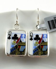 """Fun, custom made """"Queen of Clubs"""" sterling silver recycled china earrings"""