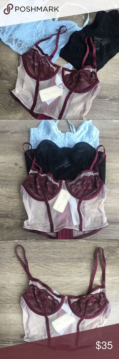 F21 lace underwire sheer bralette bra bundle  NWT Super cute bralettes in from Forever 21. All size Small. sheer. Lace details. Polka dots. Built in underwire and back hook and eye closure. Bought for myself, unfortunately to small for me. All new with tags. Forever 21 Intimates & Sleepwear Bras
