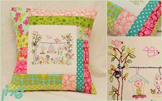 Embroideried patchwork pillow