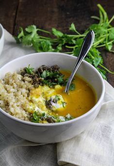 Sweet Potato and Coconut Milk Soup with Brown Rice and Lentils #healthy #meal