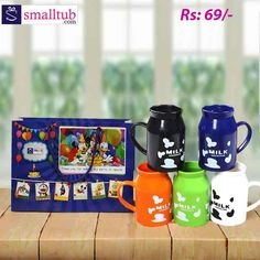 Differently designed milk cups with handle. These cups are made of plastic. Available in different colors. The kids can be excited to have milk from the cup because of its attractive looks. These can be best used as return gifts for birthday parties or any other baby occasions. Suggested for the kids above 2 years. Parents monitoring is recommended while kids using the cup to avoid choking hazard. The size is L - 10cm B - 7cm H - 11cm Birthday Return Gifts, Milk Cup, Free Gifts, Birthday Parties, Parents, Cups, Handle, Plastic, Tableware
