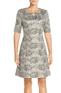 Tahari Embellished Bouclé Jacquard A-Line Dress (Regular & Petite) available at #Nordstrom