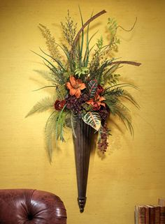 Silk Autumn Wall Sconce from SilkFlowers.com