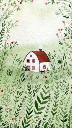 Cottage by Yelena Bryksenkova illustration-inspiration Art And Illustration, Illustrations, Guache, Art Design, Art Inspo, Folk Art, Art Drawings, Artsy, Watercolor