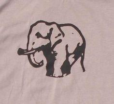 1950's vintage Elephant design in black water based ink
